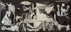 Guernica by Pablo Picasso. Guernica shows the tragedies of war and the suffering it inflicts upon individuals, particularly innocent civilians. This work has gained a monumental status, becoming a perpetual reminder of the tragedies of war, an anti-war symbol, and an embodiment of peace. On completion Guernica was displayed around the world in a brief tour, becoming famous and widely acclaimed. This tour helped bring the Spanish Civil War to the world's attention.