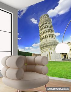 Fotomural Torre de Pisa. Ideas decoración academia de italiano #decoración #academia #italiano #ideas #vinilo #TeleAdhesivo