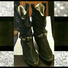 Hold..Boots, The leather Shop Boots, The leather Shop, black soft leather,  crunchy style, chain and metal embellishments across front and back,  toe guards,  beautiful boots with very little wear. The Leather Shop  Shoes Winter & Rain Boots
