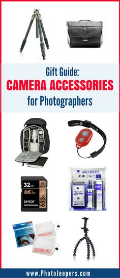 When you're traveling, it's important to have the right camera gear and accessories in order to get the perfect shot. We share the basic camera accessories every photographer must have to transport and protect the gear and also improve image quality. These items are terrific gifts for the photographer on your list. Make sure you save this camera accessories guide to your photography and gift ideas boards! #giftidea #giftguide #cameragear