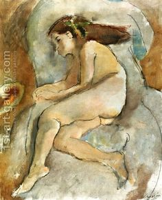 Jules Pascin:Nude in an Armchair I