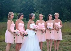 A real bridal party wearing petal chiffon dresses from David's Bridal