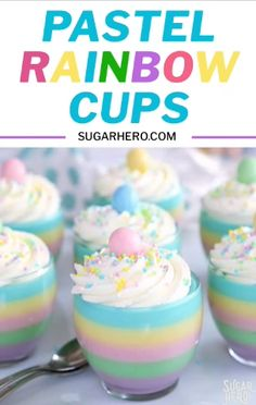 Looking for an easy spring dessert? These Pastel Rainbow Gelatin Cups are simple, kid-friendly, and so beautiful! Serve them plain, or top them with whipped cream and sprinkles! Desserts Ostern, Easter Cookies, Easter Treats, Dessert Cups, Dessert Recipes, Trifle Desserts, Rainbow Food, Rainbow Desserts, Cuisine