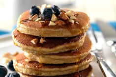 I use a combination of Coconut flour, almond flour, and I add in 1/4 cup of apple sauce when I make these pancakes for a weekend breakfast treat.