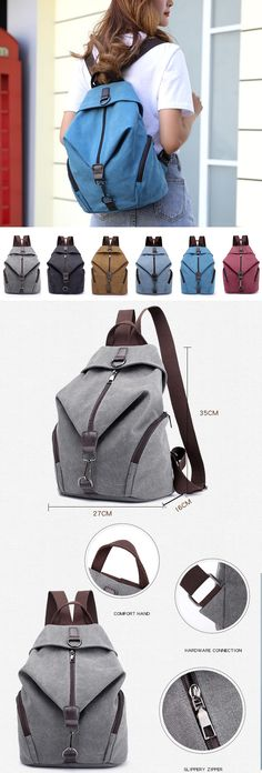 $33.95 USD Sale!Shop Now!Vintage Canvas Casual Large Capacity Backpack.Black,Gray,Coffee,Blue,Sky Blue and Red Colors for Options.#Backpack#bag