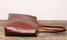 Vintage Mens Womens Leather Large Brown Tote Handbag Shoulder Tote Purse Tote Messenger Bag For Men