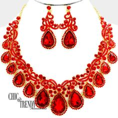 HIGH END RED CHUNKY GLASS CRYSTAL FORMAL NECKLACE JEWELRY SET // CHIC & TRENDY #Unbranded