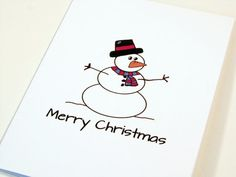 Christmas Card. Snowman.  Cute Christmas Card.  by TheNestedTurtle,