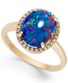 14k Rose Gold Ring, Opal Triplet and Diamond (1/10 ct. t.w.) Oval-Shaped Ring #opalsaustralia