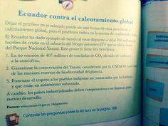 Ecuador. ANTES. Texto escolar (5to educación básica) explica por qué NO hay que explotar el Yasuní ITT. DESPUES. El Ministerio de Educación debe sustituirlo urgente para explicar por qué SI hay que explotar el Yasuní ITT. Obsolescencia de los textos escolares no solo por avance de la ciencia sino por virajes en la poítica.
