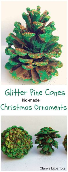 Glitter Pine Cones kid made Christmas ornament. Easy Christmas craft idea for babies and toddlers.