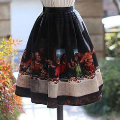 Fine art collection vintage style black leonardo da vinci last supper theme skirt - Thumbnail 2
