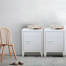 1 Pair Vintage Industrial Bedside Tables Retro Locker Side Cabinets White | eBay White And Mirrored Bedroom Furniture, Shabby Chic Bedroom Furniture, Wood Bedroom, Retro Bedside Tables, Side Tables Bedroom, White Bedside Cabinets, Shoe Storage Cabinet, Vintage Industrial, Shelving