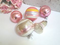 VINTAGE PINK ORNAMENTS  Shiny Brite  Mercury Glass by IWANTVINTAGE, $25.00