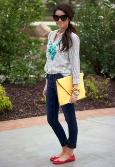 Super cute...  Primary Colors…  , Zara in Shirt / Blouses, J Crew in Jewelry, Asos in Clutches, J Brand in Jeans, Tory Burch in Flats, House Of Harlow in Glasses / Sunglasses