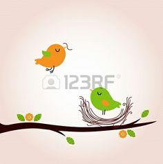 Bird nest - vector cartoon Illustration