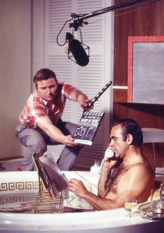 "Sean Connery shooting a scene for ""Diamonds Are Forever"""