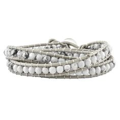 White Howlite Beaded And Leather Multi-wrap Bracelet, Best Quality Free Gift Box Satisfaction Guaranteed for only $56.46 You save: $169.38 (75%)