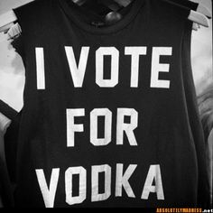 I vote for vodka. Perfect bachelorette party shirts!