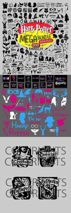 200 Harry Potter Bundle SVG - Hogwarts houses svg - Harry Potter svg - Cut File Silhouette Cricut - SVG - PDF - Png - Dxf by TheCollectionPh on Etsy Harry Potter Alphabet, Free Dobby, Harry Potter Shirts, Harry Potter Birthday, Svg Files For Cricut, Svg Cuts, Clip Art, Etsy, Vintage