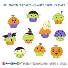 A personal favorite from my Etsy shop https://www.etsy.com/listing/477475055/halloween-cupcakes-clipart-cute