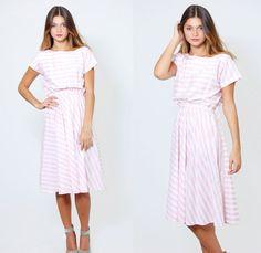 Vintage 80s STRIPED Sun Dress Pink & White Midi  Nautical Day Dress by LotusvintageNY