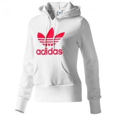 This is a long, medium, long sleeve, pink / white, crew neck collar, is a hoodie. The hoodie HAS a strap on the cap to accommodate if necessary, and has an Adidas logo pink, has a cost of four hundred and seventy dollars.