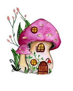 Gnome House Watercolor Illustration Hand-painted Cute Childish Cartoon Fantasy Fairytale Stock Illustration - Illustration of creative, childish: 129348004 Mushroom Paint, Mushroom Drawing, Art Drawings Sketches, Easy Drawings, Diy Art Projects, Fantasy Paintings, Happy Paintings, Fairy Art, Whimsical Art