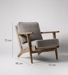 Swoon Editions Armchair, retro style in Stonewashed Grey - Vincent Two-seater Sofa The Karla chair is a classic Scandinavian - Danish design with upholstery in stonewashed grey canvas. Chair Dolly For Stackab Wooden Armchair, Grey Armchair, Retro Armchair, Wooden Furniture, Furniture Decor, Furniture Design, Office Furniture, Stylish Chairs, Modern Chairs