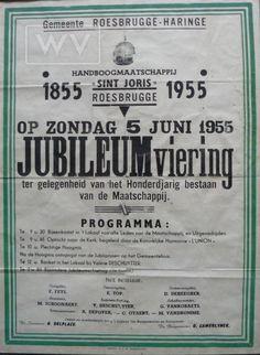 Affiche uit 1955 die de feestelijkheden aankondigt naar aanleiding van het honderdjarig bestaan van de Roesbrugse handboogmaatschappij Sint-Joris.