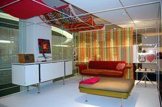 Alexander Girard furniture . Braniff. Herman Miller.  framework is white 13mm Abstracta by Consort Display Group.