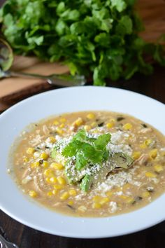 Roasted Poblano, Corn & Chicken Soup
