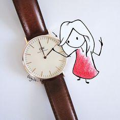 """SnapWidget   Stanotte non dimenticate di cambiare l'ora nei vostri orologi, torna l'ora legale! Ma poi perché la cambiano sempre di notte? Non sarebbe meglio avere un'ora in meno di lavoro? [Don't forget to set clocks ahead one hour at 2 a.m. Sunday and use """"virgola_"""" code for a 15% discount on www.danielwellington.com/ until 15 April] xx @danielwellingtonwatches #danielwellington #virginiasdraws"""
