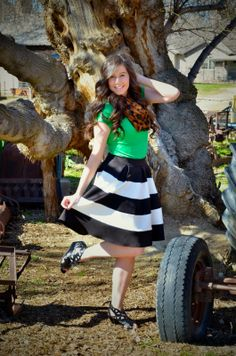 Happy St Patrick's Day Outfit is on the blog! :) (Striped skirt, green shirt, leopard scarf, weges, cut out wedges, windsor store, striped skirt outfit, st patricks day outfit, green outfit, leopard scarf outfit)