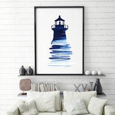 Sea Wall Art, Lighthouse Print, Blue Ocean Art, Sea Wall Decor, Ocean Wall Print, Seaside Decor, Ocean Wall Art, Beach Art Print, Ocean Art by NicoPrintableArt to Etsy