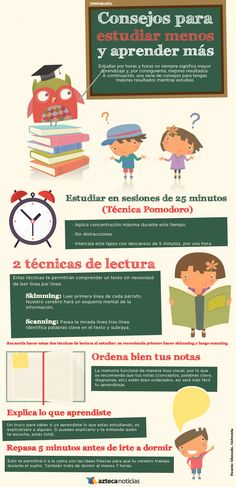 Consejos para estudiar menos y aprender más #infografia