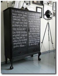 Black Painted Chalkboard Antique Cabinet