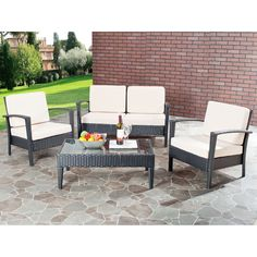 Safavieh Outdoor Living Beige Cushioned Black Glass Top 4-piece Patio Set