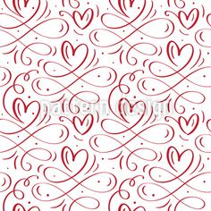 Liebeswirbel Rapportiertes Design by Galyna Tymonko at patterndesigns.com Heart Patterns, Print Patterns, Vektor Muster, Calligraphy Heart, Valentine Poster, Vector Pattern, Flourish, Free Vector Images, How To Draw Hands