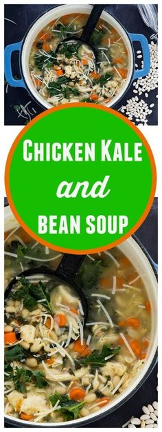 Chicken Kale and White Bean Soup // @gatherforbread