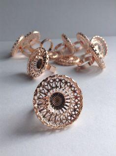 10 Brass Plated Filigree Ring bases / blanks by GirlyStuffByDeJaVu, $11.95