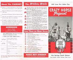 Crazy Horse Pageant Hot Springs South Dakota SD Travel Brochure Vintage 1950's