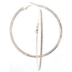 Rhinestone Hoop Earrings in Crystal with Silver Tone finish