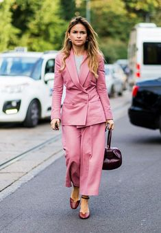 wedding guest outfits: A pink suit is a sharp choice