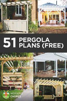 DIY Pergola Plans & Ideas - build a pergola in your backyard garden with these 51 free DIY pergola plans. Diy Pergola, Building A Pergola, Corner Pergola, Small Pergola, Pergola Canopy, Deck With Pergola, Wooden Pergola, Outdoor Pergola, Pergola Shade