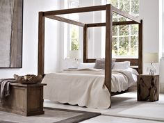 Reclaimed Teak Four Poster Bed in Natural Teak with Teak Root, Blanket Box, Teak Bowl and Chunky Velvet Rugs.