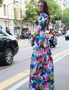 Who doesn't love a bright, floral dress? MFW 2013 Street Style