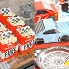 Use these treat boxes to fuel-up on the finest quality of high-octane goodies! A must-have for your race car birthday party supplies, these popcorn boxes are . Hot Wheels Birthday, Hot Wheels Party, Race Car Birthday, Monster Truck Birthday, Motocross Birthday Party, 2nd Birthday, Birthday Ideas, Monster Trucks, Nascar Party