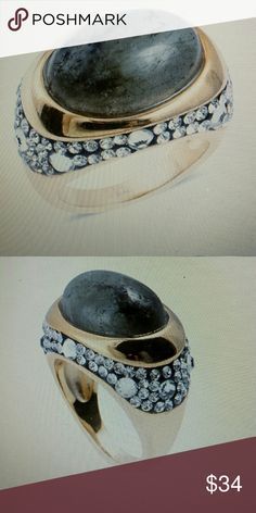 *FINMalagasy labradorite - Australian crystal ring Fascinating shade of natural malagasy labradorite with Australian crystals friend and ion plated yellow gold over stainless steel oval cut beautiful rich and fashionable Jewelry Rings