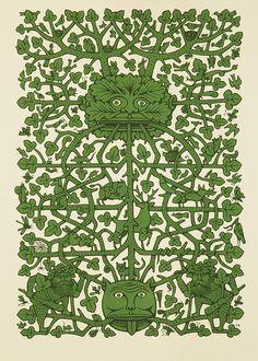 """The Green Man"" by Paul Bommer (screenprint)"